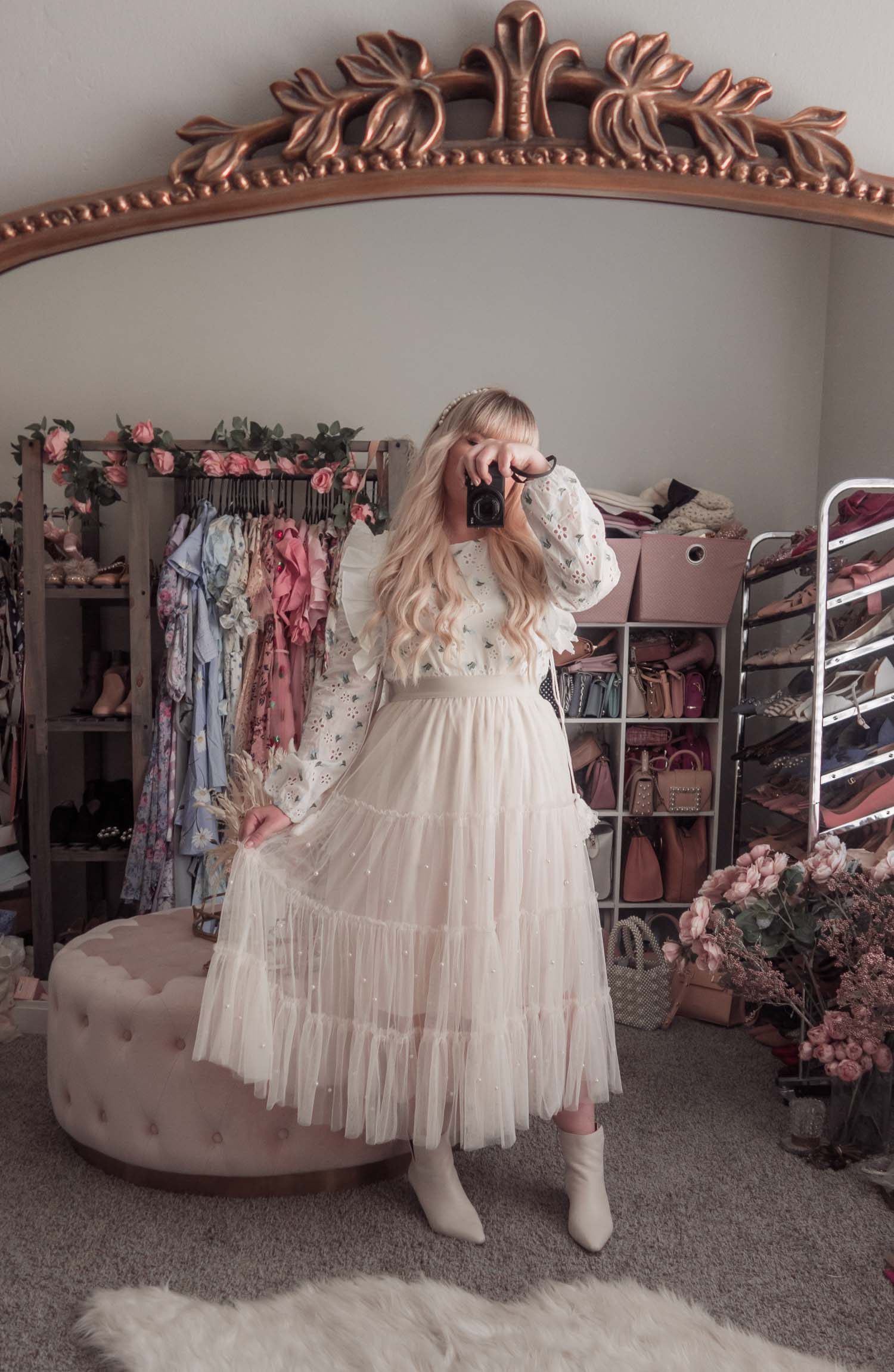 Feminine Fashion Blogger Elizabeth Hugen of Lizzie in Lace shares an updated Chicwish review and styles 4 spring outfit ideas including a white floral top and Chicwish tulle skirt