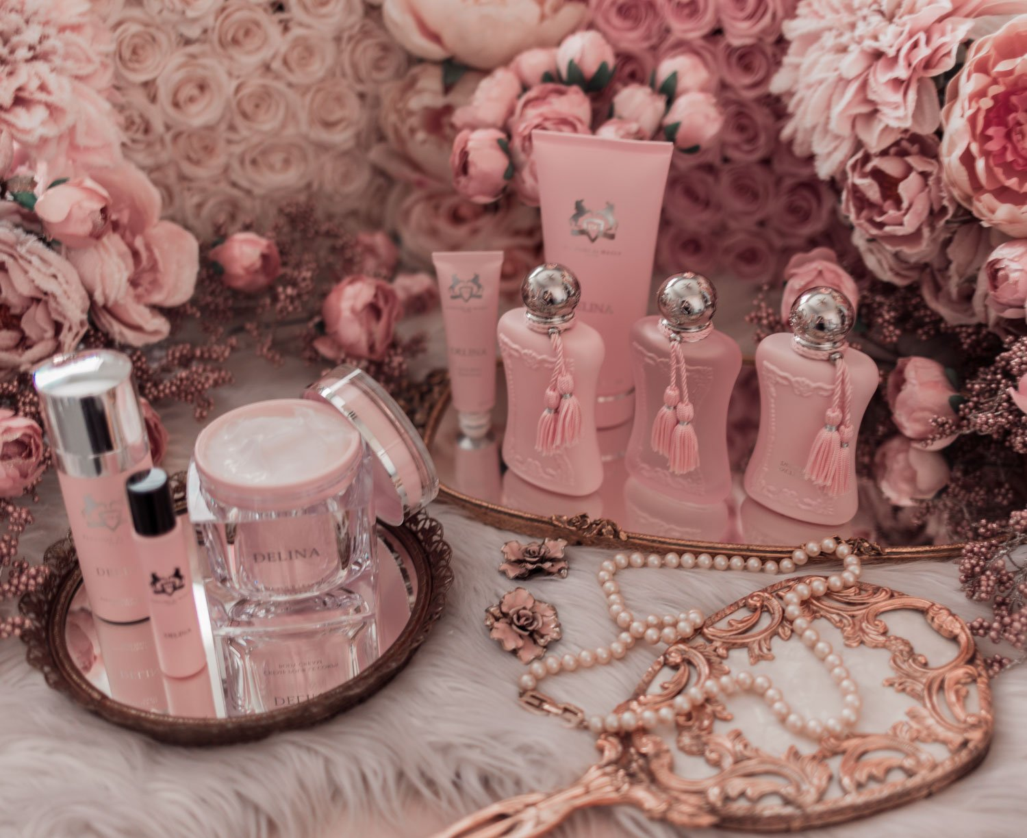 Feminine fashion blogger Elizabeth Hugen of Lizzie in Lace shares the entire Perfums de Marly Delina Collection