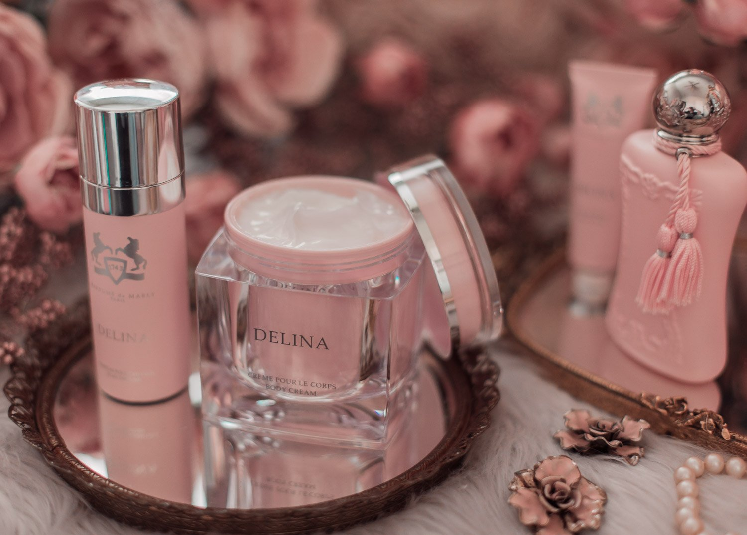 Feminine fashion blogger Elizabeth Hugen of Lizzie in Lace shares the entire Perfums de Marly Delina Collection including the Delina body cream