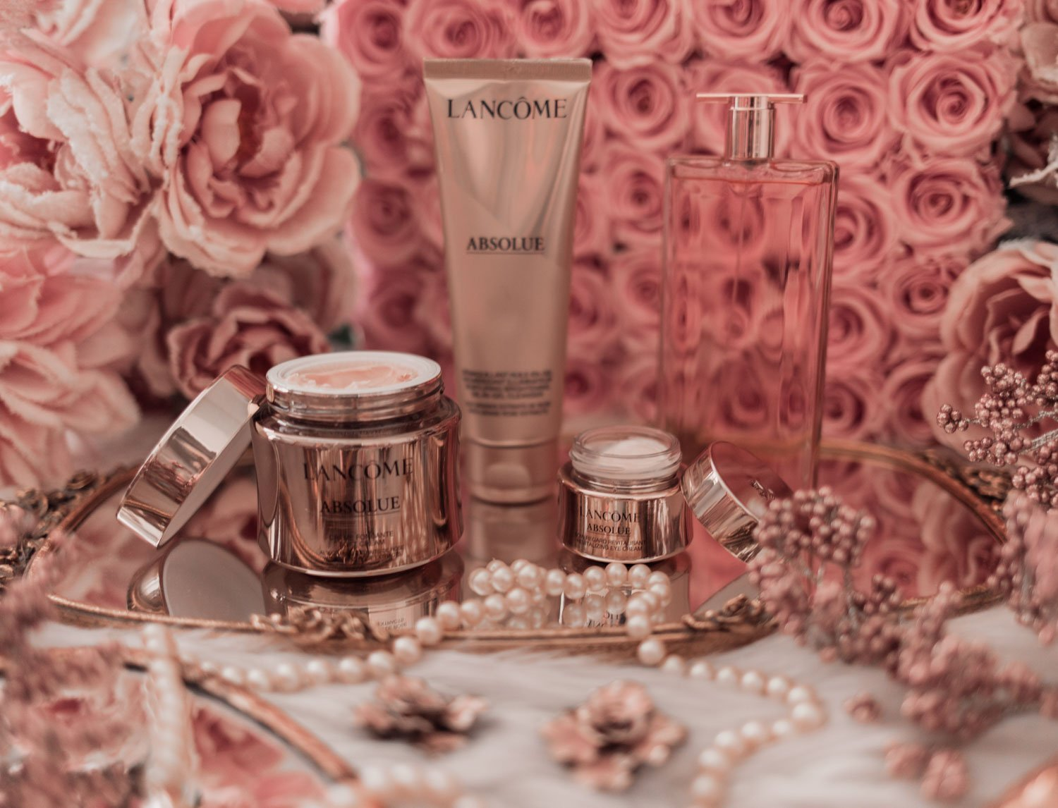 Feminine fashion blogger Elizabeth Hugen of Lizzie in Lace shares the Best Mother's Day gift ideas in her Mother's Day gift guide including this Lancome Absolu Skincare Set and Idole Fragrance