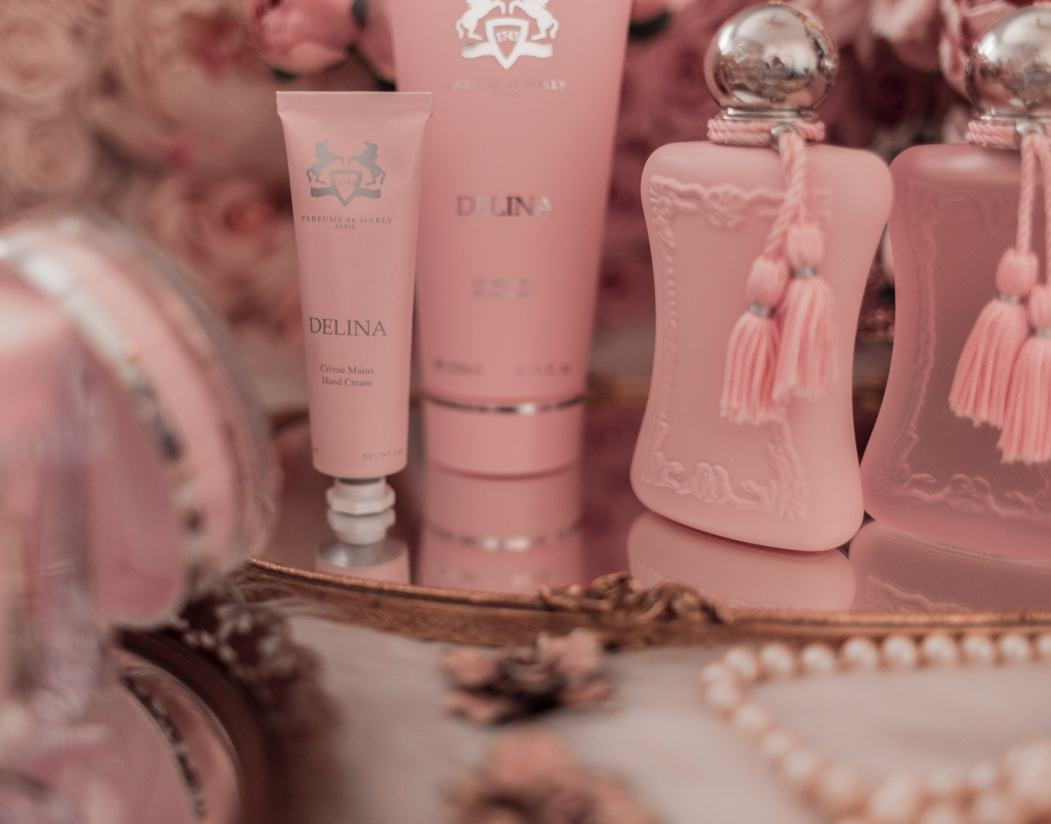 Feminine fashion blogger Elizabeth Hugen of Lizzie in Lace shares the entire Perfums de Marly Delina Collection including the Delina hand cream