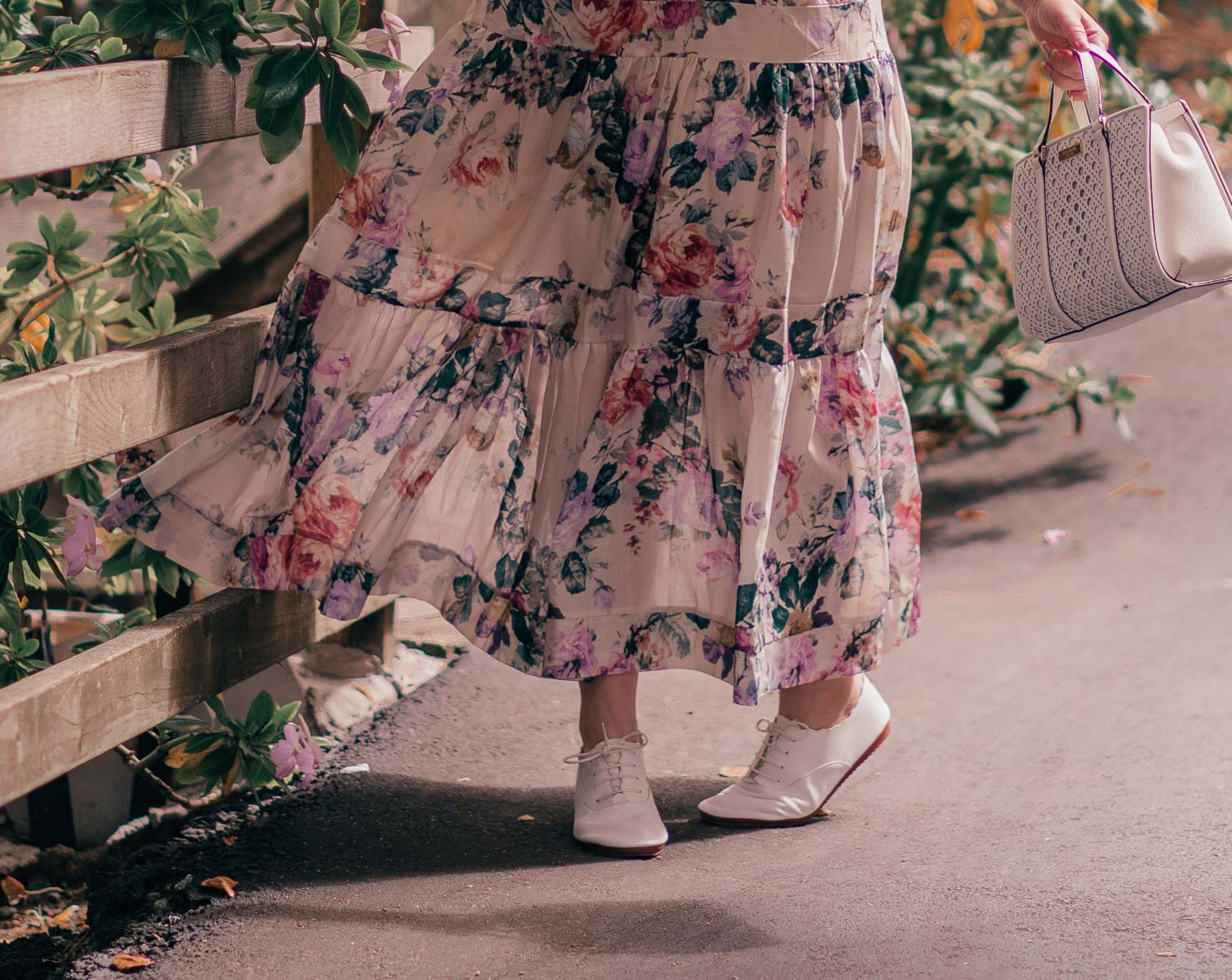 Feminine Fashion Blogger Elizabeth Hugen of Lizzie in Lace shares How to Create a Cottagecore Aesthetic Outfit featuring a floral chicwish dress and Anothersole shoes