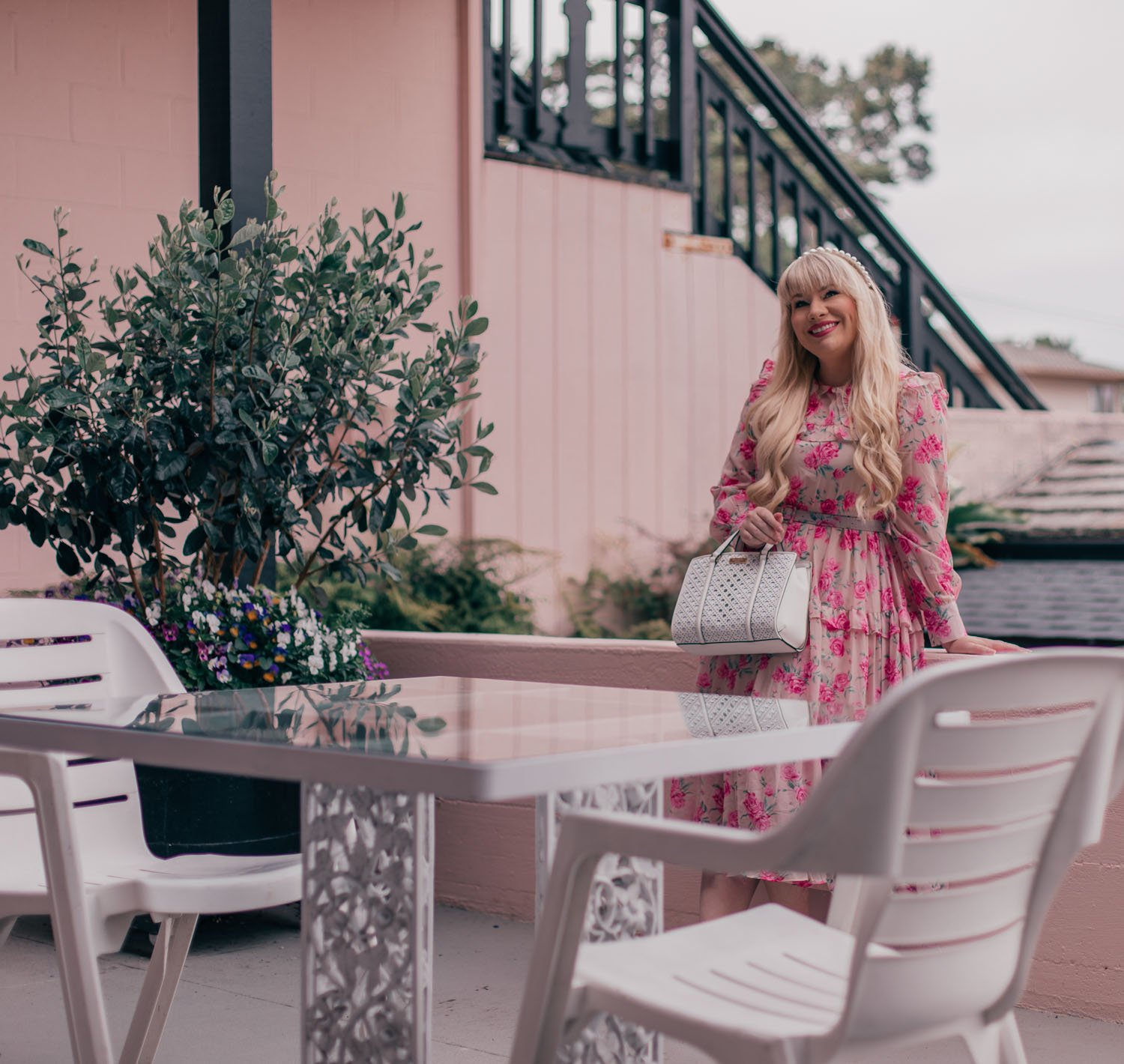 Feminine Fashion Blogger Elizabeth Hugen of Lizzie in Lace shares how to wear the statement collar trend along with a summer outfit including a pink floral chicwish dress