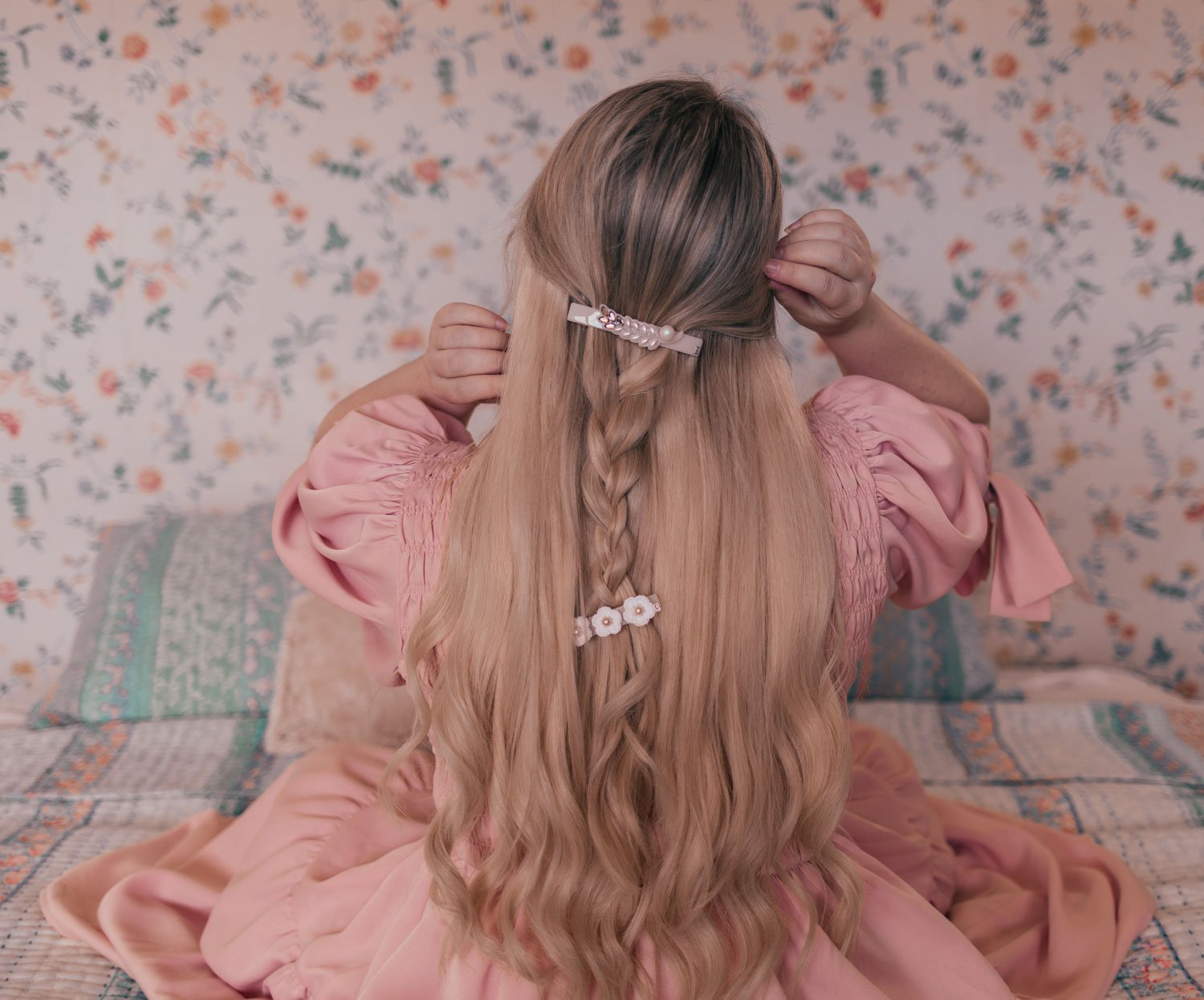 Feminine fashion blogger Elizabeth Hugen of Lizzie in Lace shares 3 Feminine Summer Hair Accessories to Wear Now including these gorgeous hair barrettes to accessorize a romantic braided hairstyle