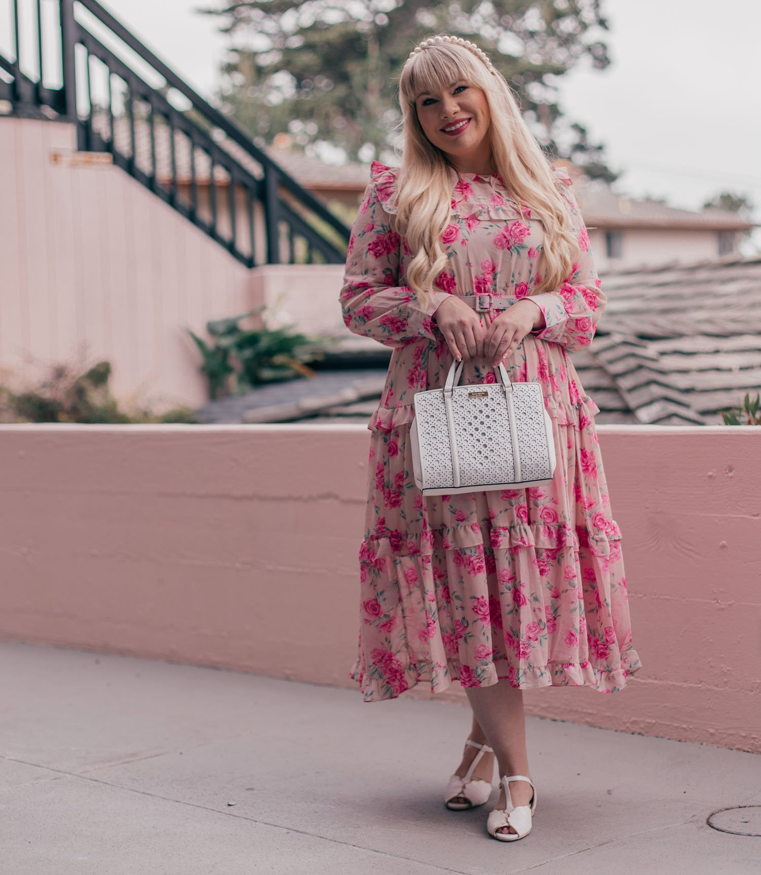 Feminine Fashion Blogger Elizabeth Hugen of Lizzie in Lace shares how to wear the statement collar trend along with a summer outfit including a pink floral chicwish dress and charlie stone vintage inspired shoes