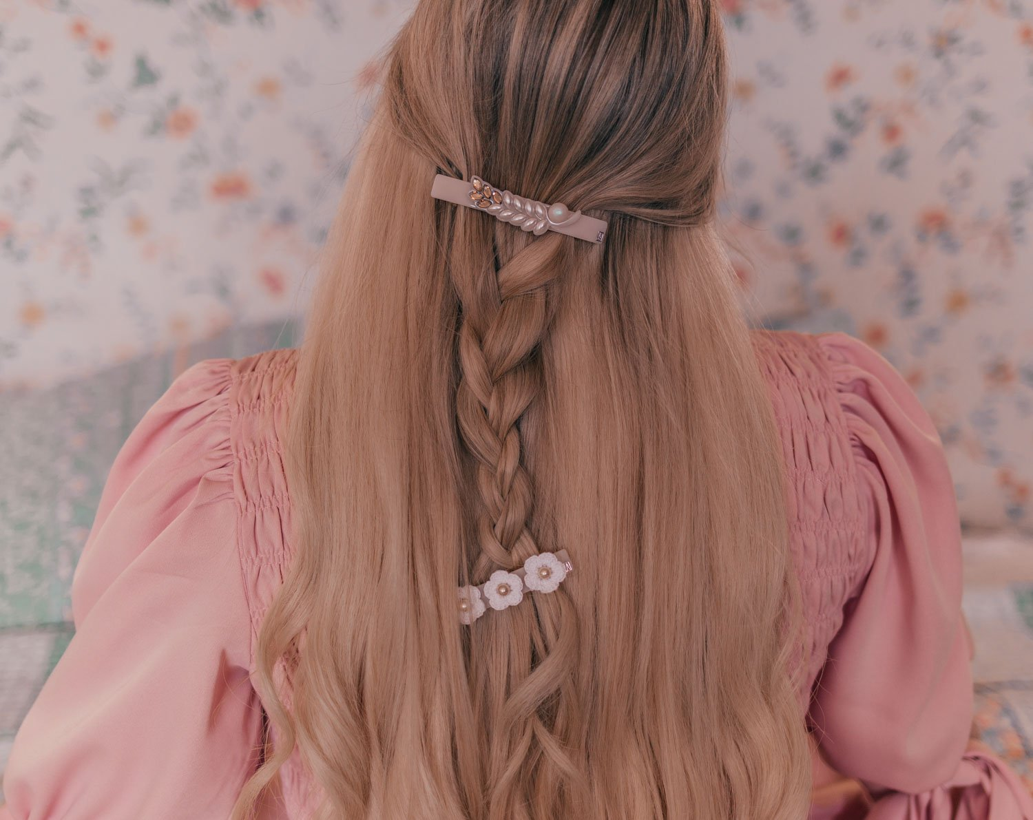 Feminine fashion blogger Elizabeth Hugen of Lizzie in Lace shares 3 Feminine Summer Hair Accessories to Wear Now including these gorgeous Alexandre de Paris hair barrettes to accessorize a romantic braided hairstyle
