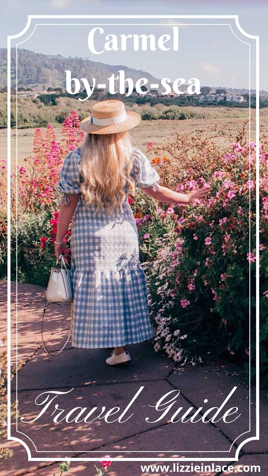 Fashion Blogger Elizabeth Hugen of Lizzie in Lace shares what to do in Carmel by-the-sea and includes her favorite feminine travel outfit ideas like this River Island blue Gingham Dress and a full Carmel by-the-sea Travel Guide