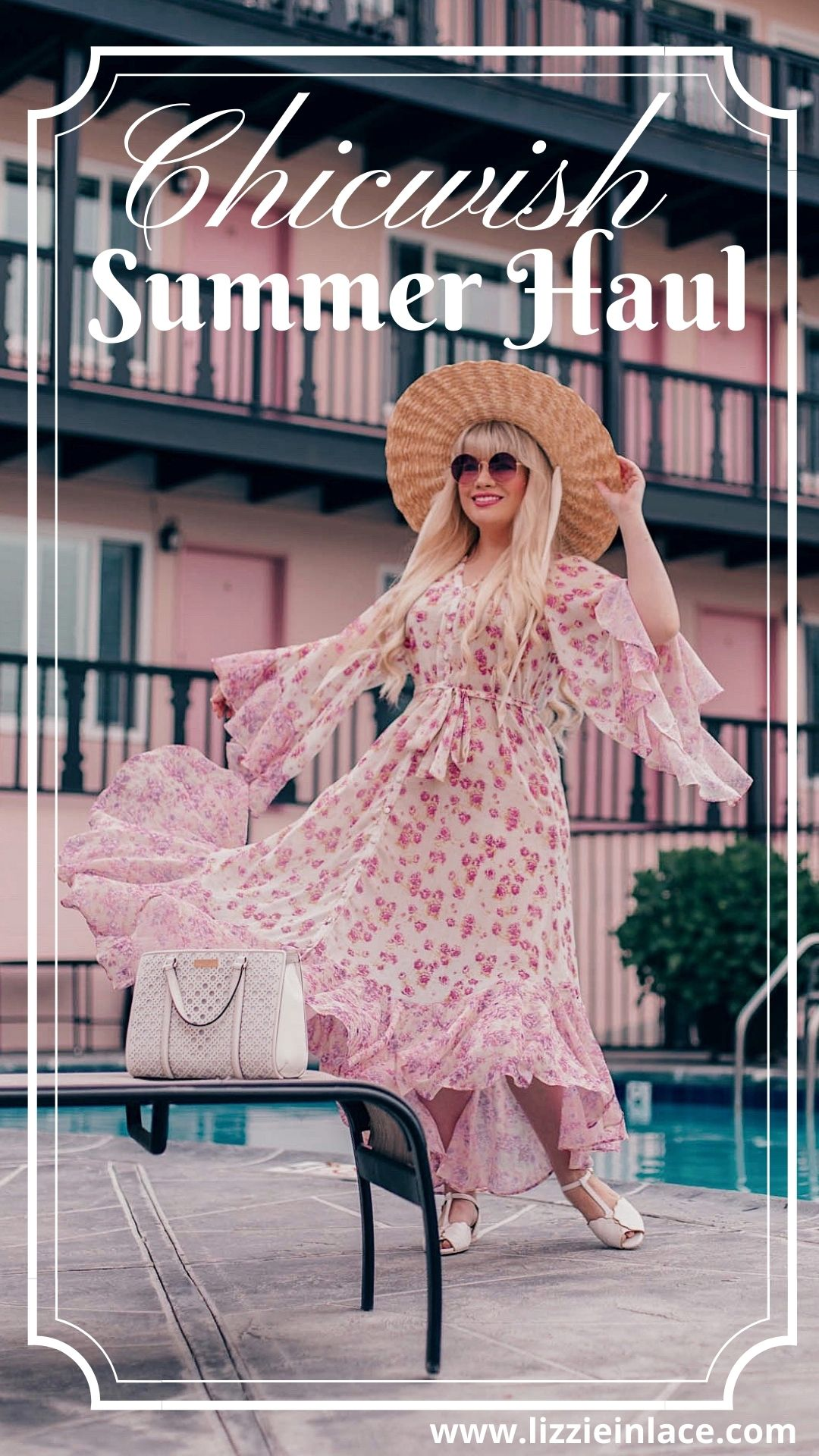 Feminine fashion blogger Elizabeth Hugen of Lizzie in Lace shares her favorite beach dress including a gorgeous floral Chicwish dress for summer and a chicwish haul
