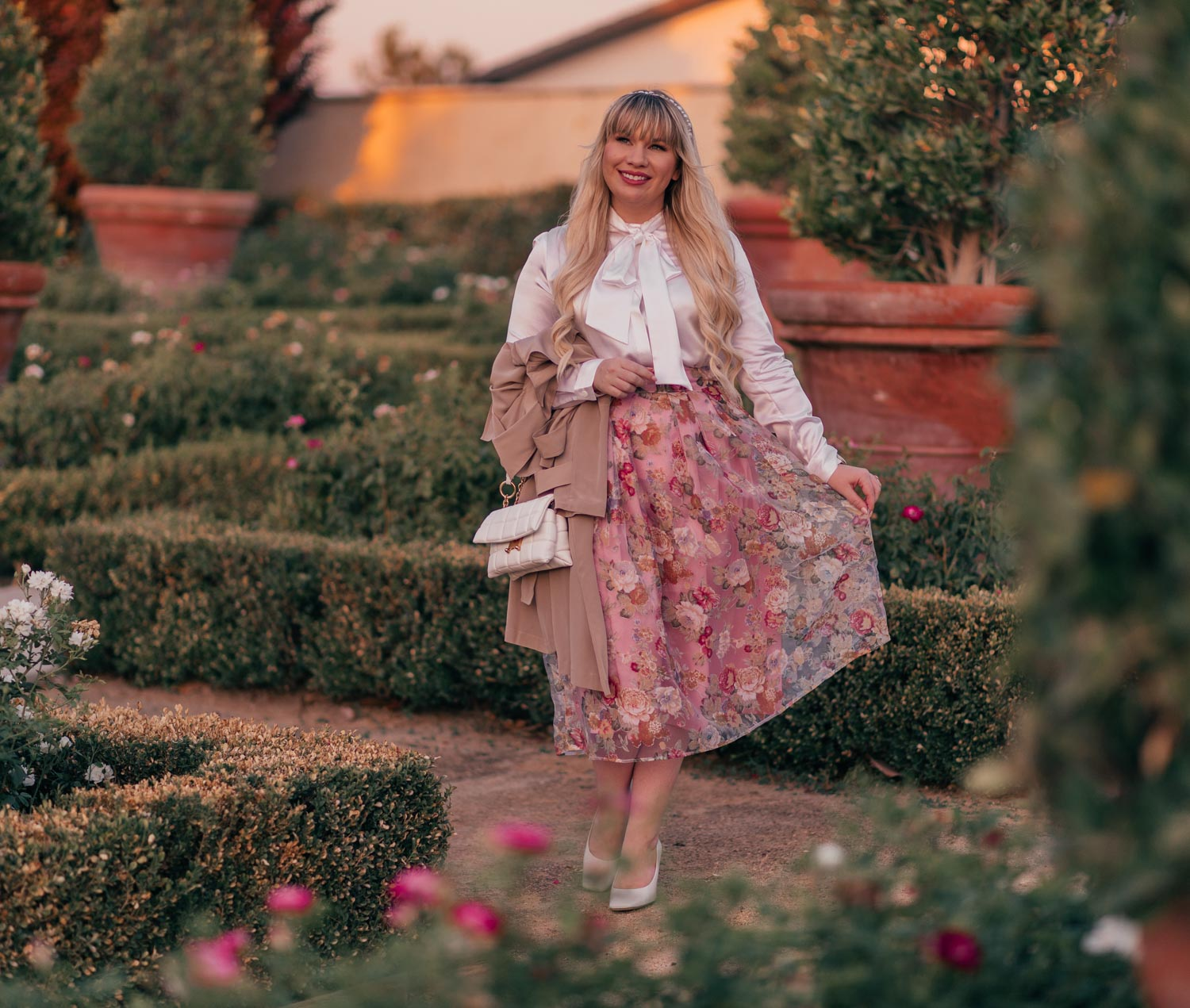 Feminine fashion blogger Elizabeth Hugen of Lizzie in Lace shares How to Style a Classically Feminine Outfit including a lilysilk blouse and trench coat