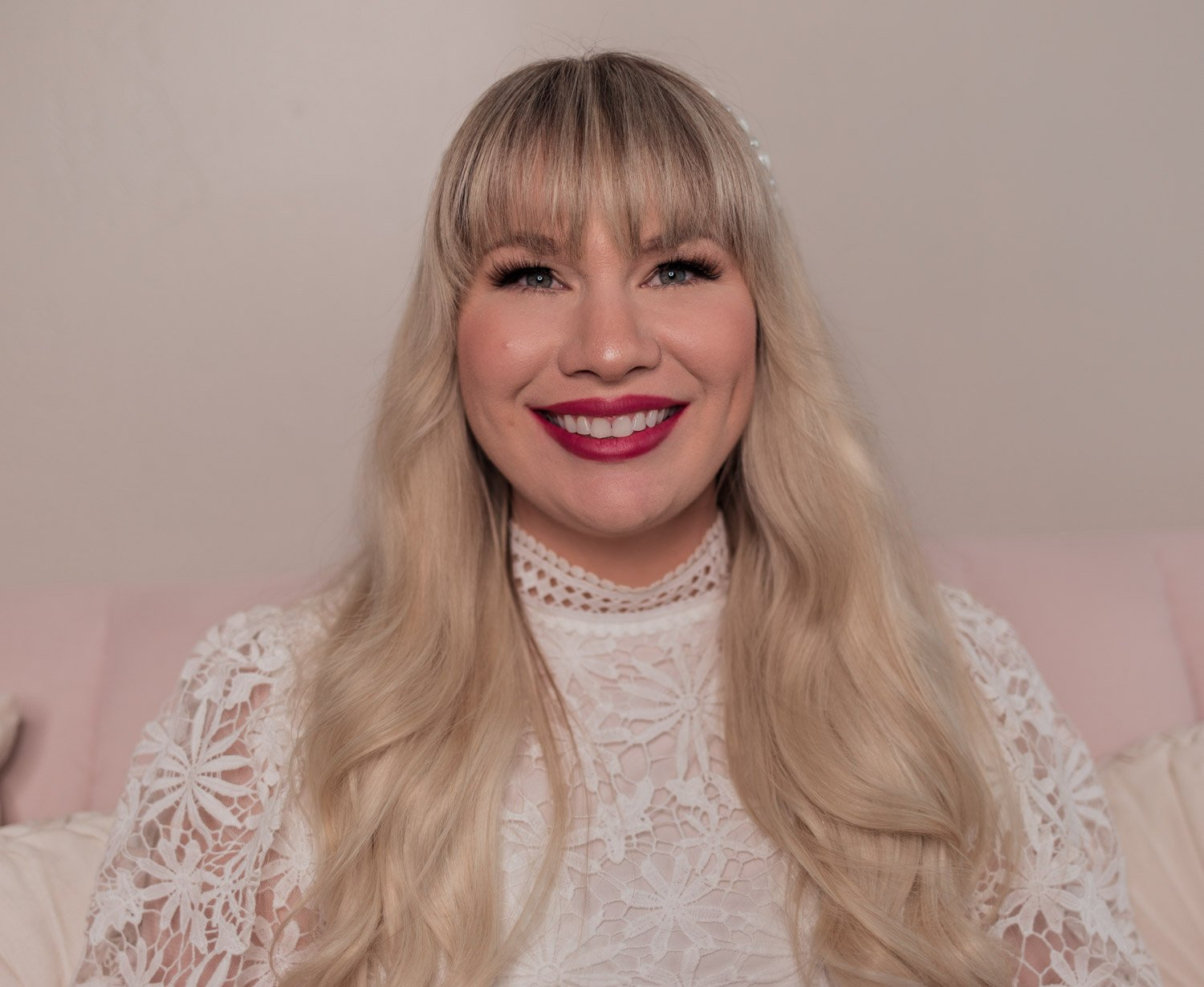 Feminine fashion and beauty blogger Elizabeth Hugen of Lizzie in Lace shares the Charlotte Tilbury Look of Love Collection Review and lipstick swatches including her First Dance lipstick review - the perfect wedding lipstick!