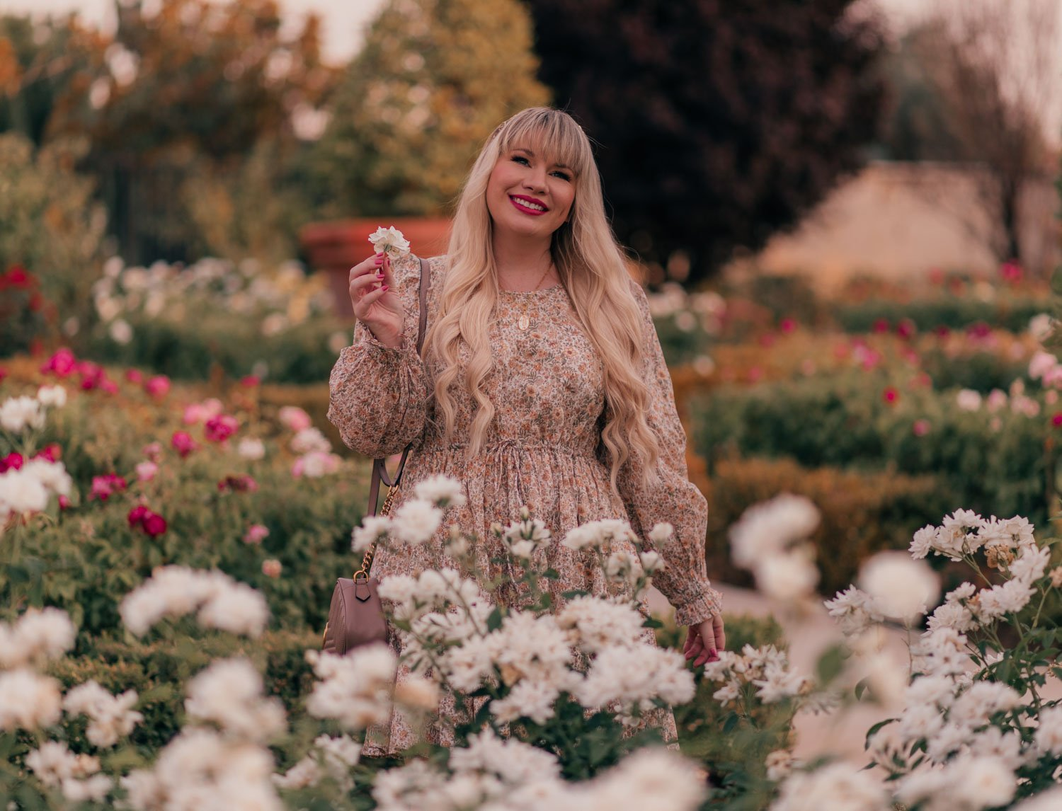 Feminine fashion blogger Elizabeth Hugen of Lizzie in Lace shares a casual feminine outfit for summer including this & Other Stories dress, Gucci Marmont Handbag and Sequin jewelry necklace and pearl charm bracelet