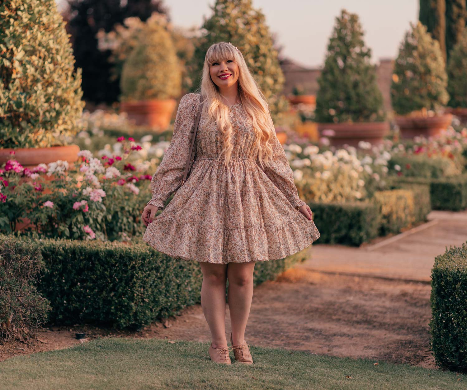 Feminine fashion blogger Elizabeth Hugen of Lizzie in Lace shares a casual feminine outfit for summer including this & Other Stories dress, Gucci Marmont Handbag and Anothersole shoes
