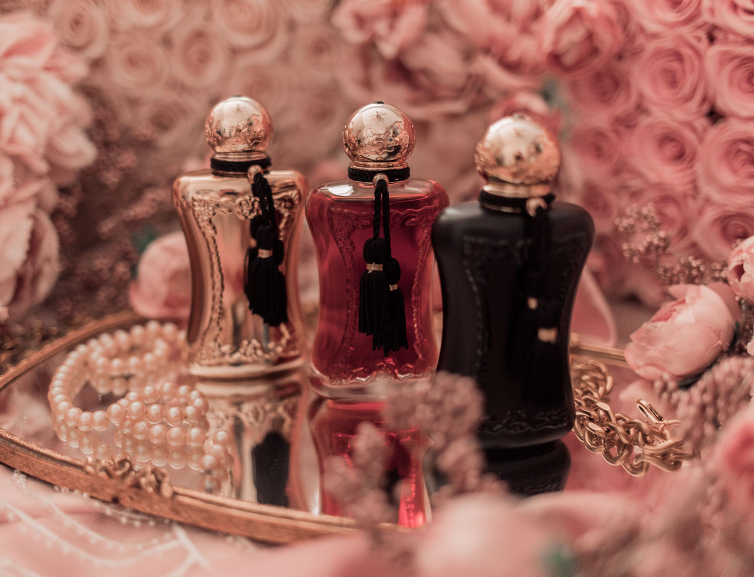 Feminine fashion and beauty blogger Elizabeth Hugen of Lizzie in Lace shares the Parfums de Marly feminine perfume collection