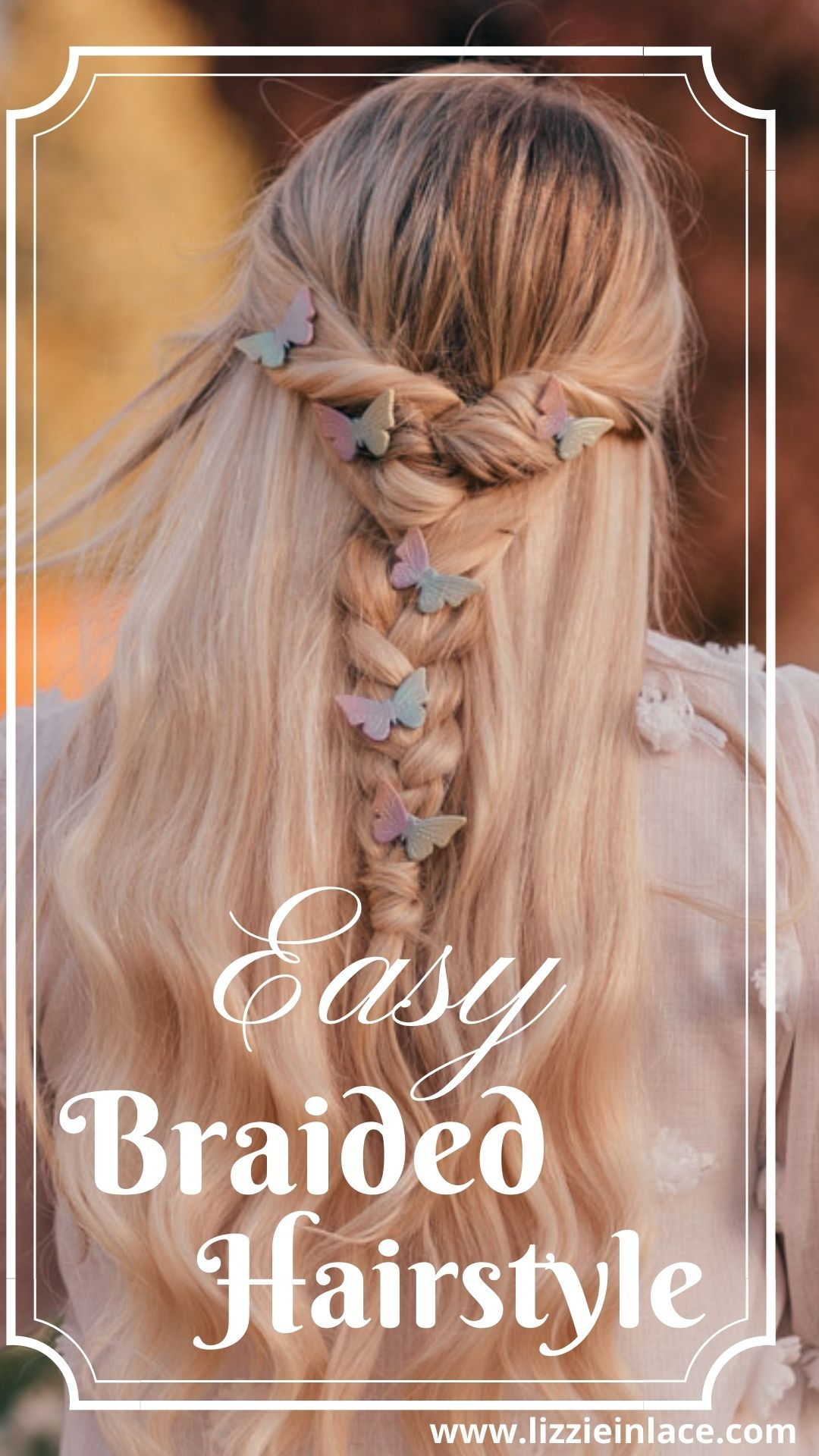Feminine fashion blogger Elizabeth Hugen of Lizzie in Lace shares a Girly Summer Outfit Idea and a romantic braided hair tutorial with butterfly clips