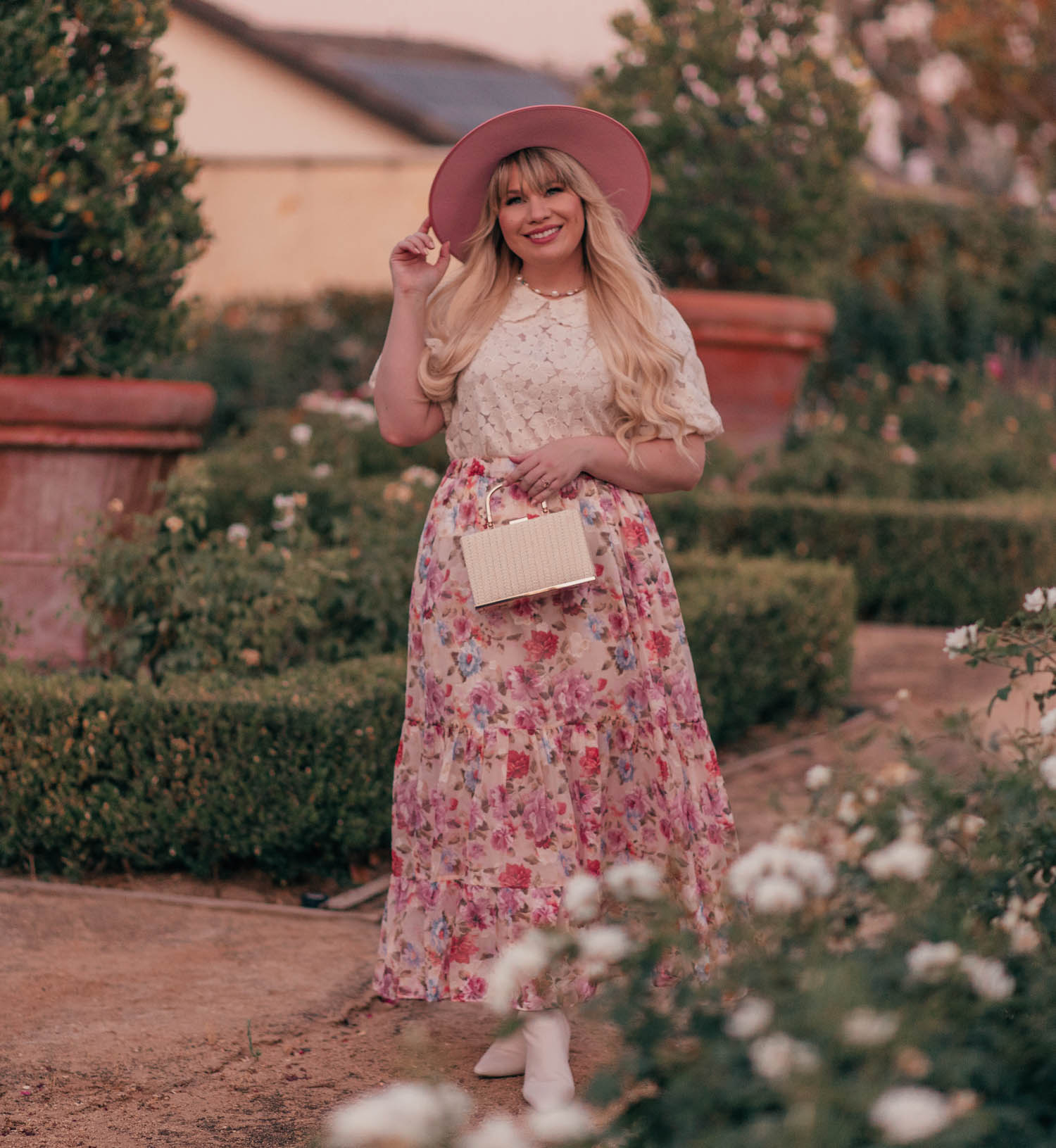 Feminine Fashion Blogger Elizabeth Hugen of Lizzie in Lace shares her top 5 Feminine Summer Essentials for the Girly Girl including the Lack of Color Rose Rancher Hat