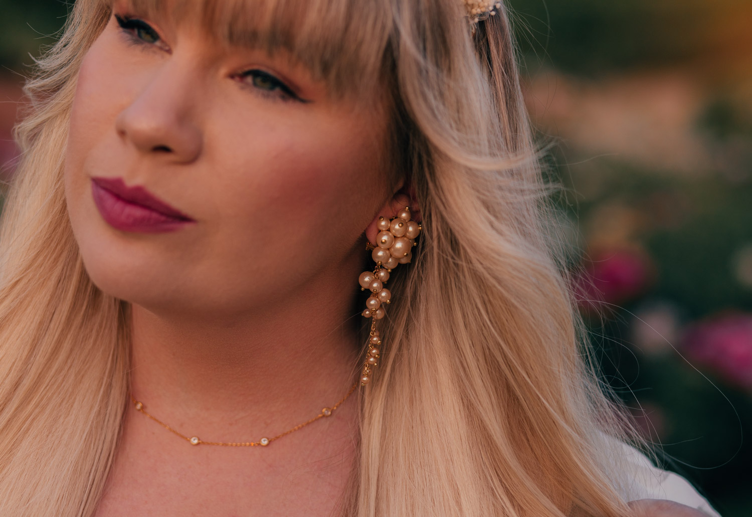 Feminine Fashion Blogger Elizabeth Hugen of Lizzie in Lace shares a cottagecore outfit idea including this dainty gold necklace and pearl earrings