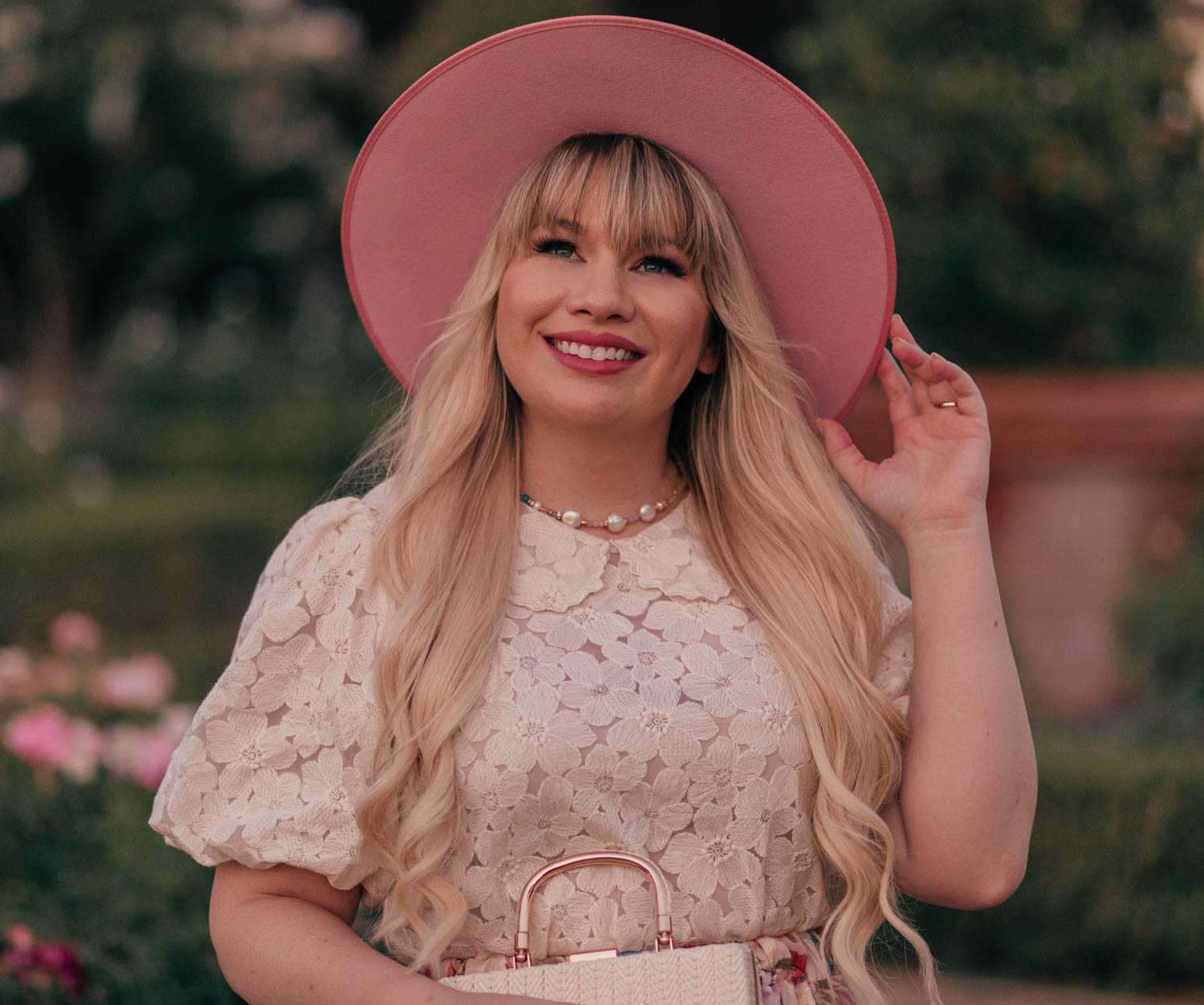 Feminine Fashion Blogger Elizabeth Hugen of Lizzie in Lace shares her top 5 Feminine Summer Essentials for the Girly Girl including a Sequin Jewelry Pearl Choker