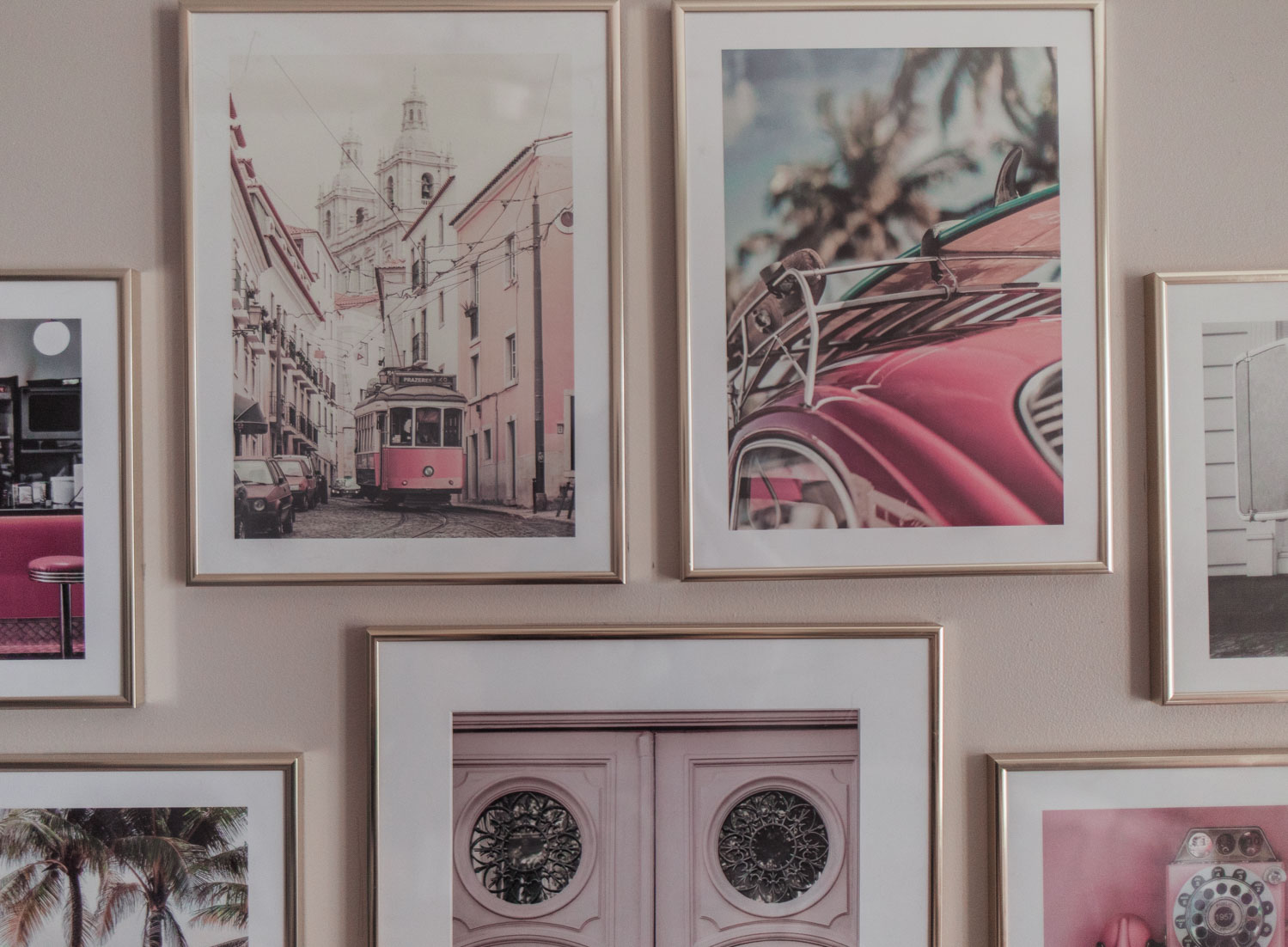 Feminine Fashion Blogger Elizabeth Hugen of Lizzie in Lace shares her pretty pink feminine living room decor and vintage inspired gallery wall idea