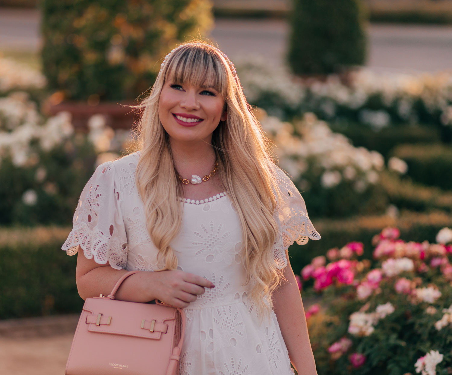 Feminine Fashion Blogger Elizabeth Hugen of Lizzie in Lace shares the perfect white summer dress from Chiwish and Sequin pearl and chain necklace
