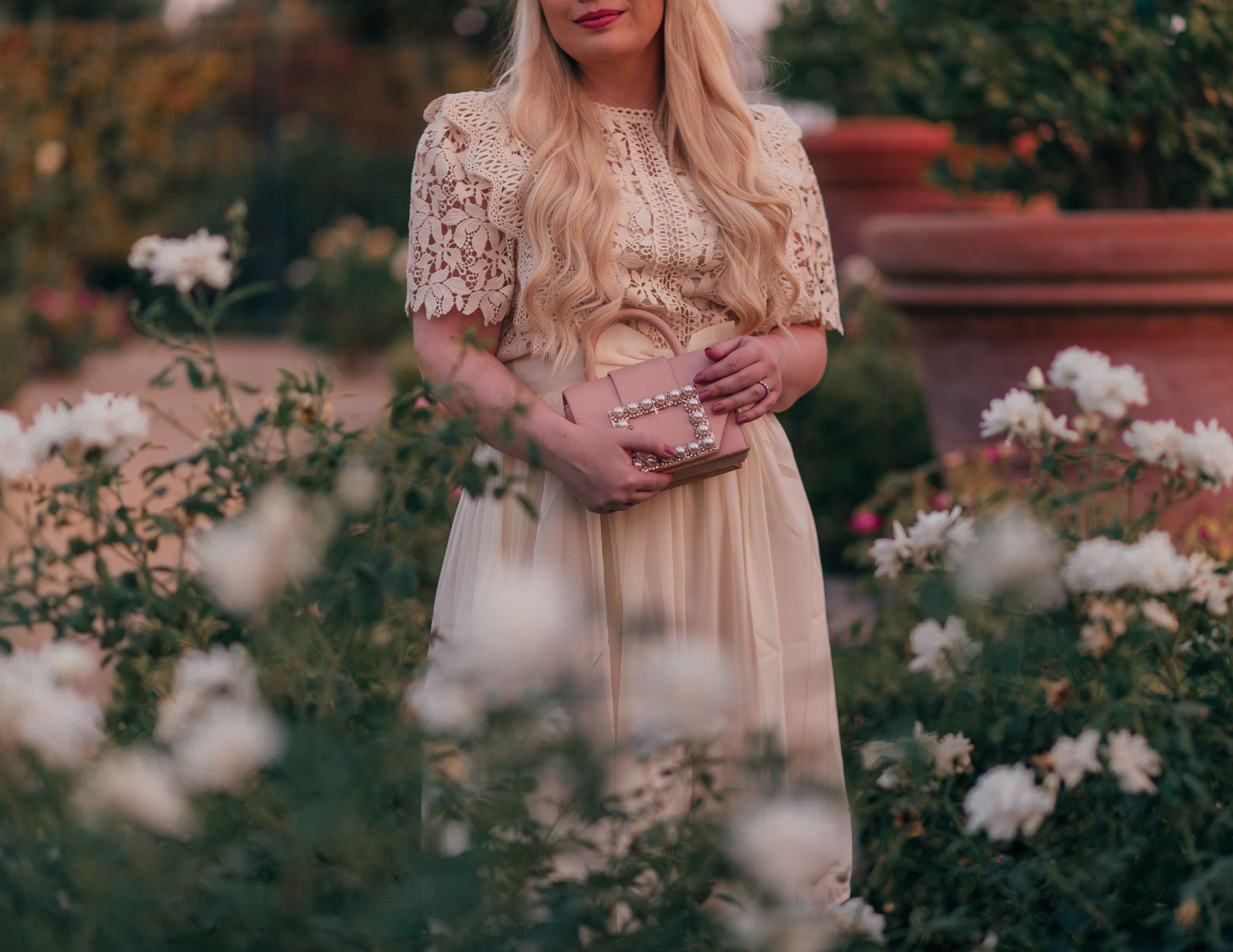 Feminine Fashion Blogger Elizabeth Hugen of Lizzie in Lace shares 5 Ways to Wear White After Labor Day with this gorgeous cream feminine outfit from Chicwish