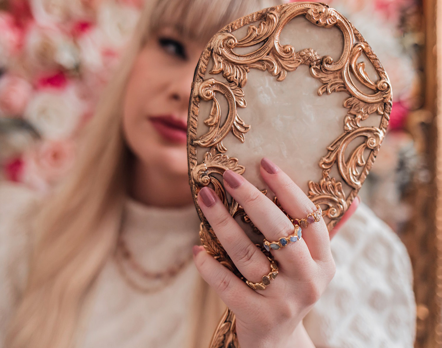 Feminine Fashion Blogger Elizabeth Hugen of Lizzie in Lace shares an honest German Kabirski jewelry review along with gorgeous pastel gemstone rings and necklaces