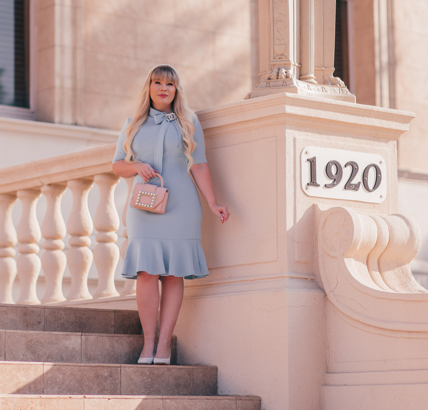 Feminine Fashion Blogger Elizabeth Hugen of Lizzie in Lace Styles The Cutest Feminine Vintage Inspired Outfit including an Adrianna Papell bow neck dress