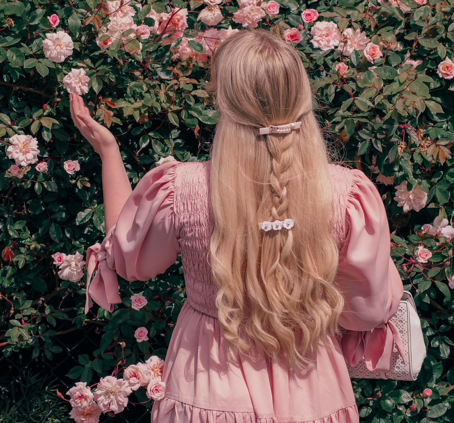 Feminine Fashion Blogger Elizabeth Hugen of Lizzie in Lace shares her September 2021 Month in Review along with a pink outfit including a Sister Jane Dress, Kate Spade Handbag and Alexandre de Paris Hair Accessories