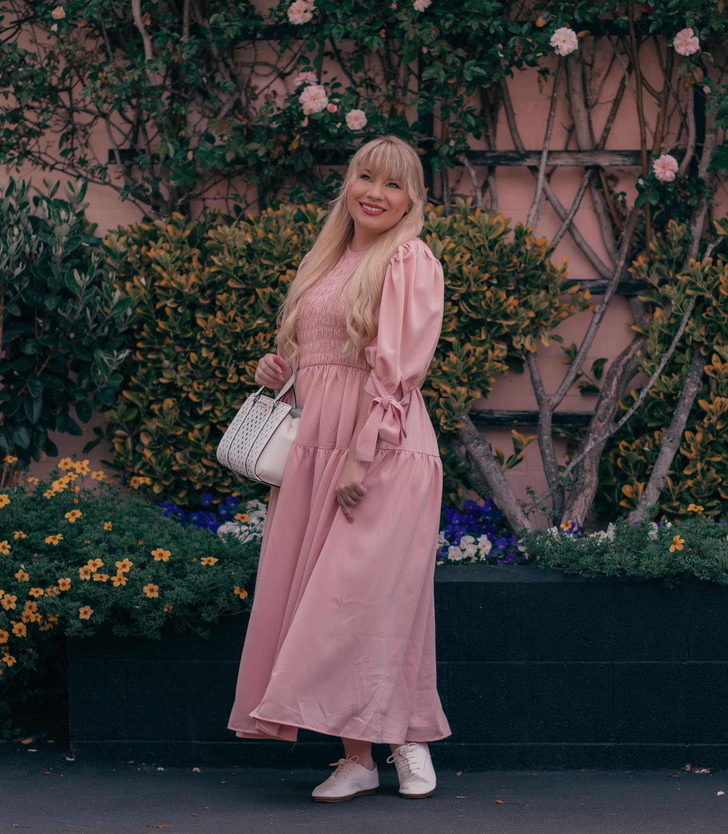 Feminine Fashion Blogger Elizabeth Hugen of Lizzie in Lace shares her September 2021 Month in Review along with a pink outfit including a Sister Jane Dress, Kate Spade Handbag and Anothersole Shoes